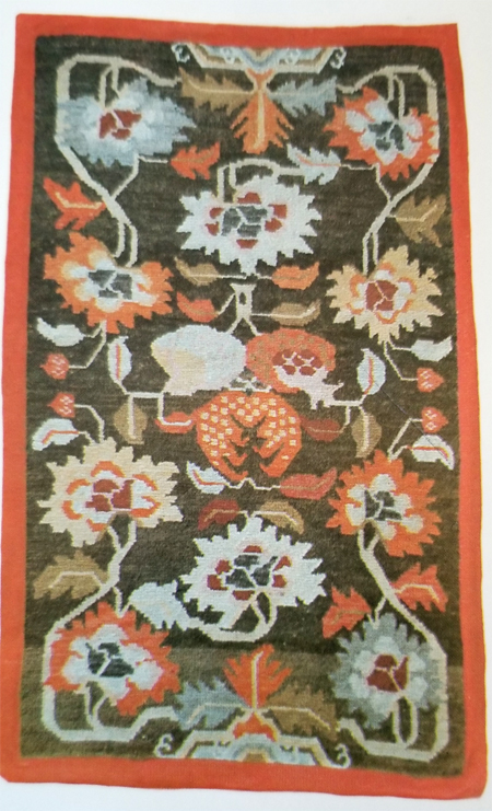 Tibetan Rug with Lotus and Chrysanthemum Leaves and Flowers Surrounding 3 Fruits Center Design