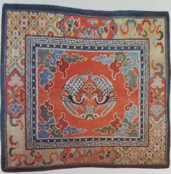 Tibetan Small Rug Used Exclusively on Top of Temple Aisle Runner Rug