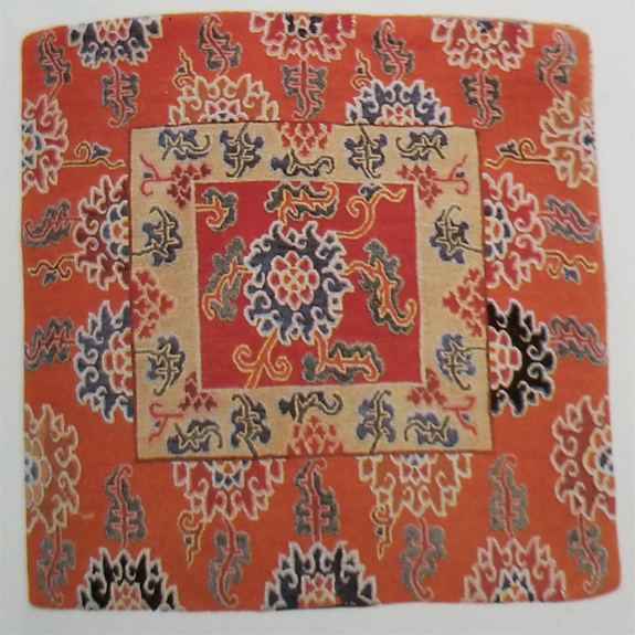 Tibetan Small Rug With Chrysanthemum Flowers Used Exclusively on Top of Temple Aisle Runner Rug