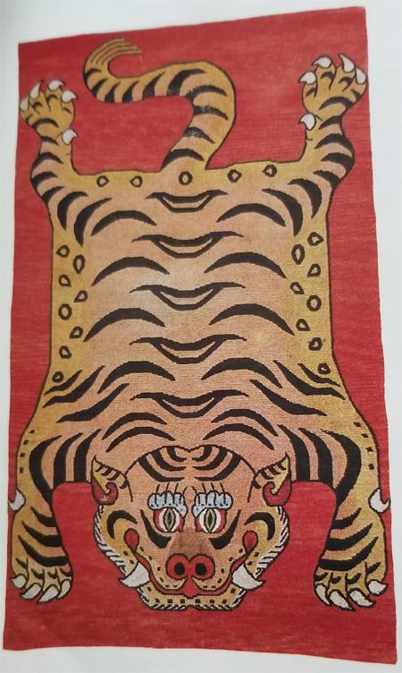 Tibetan Tiger Rug with Flayed Tiger Skin Design