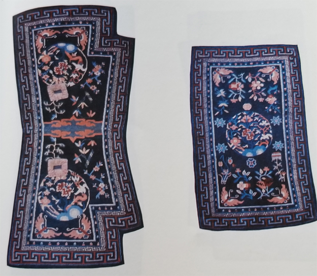 Tibetan Rectangular Bottom Saddle Rugs with Indented Corners and Long Top Rugs