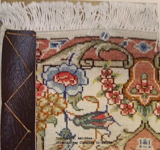 Vinyl Strips on side of Tabriz Oriental Rug - Back Side
