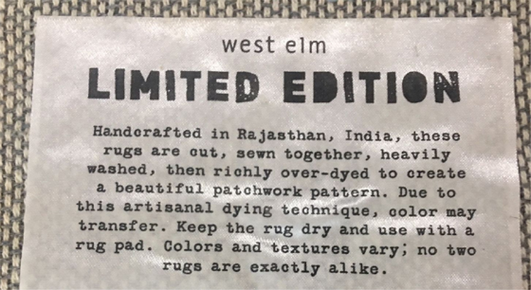 West Elm Rug Label