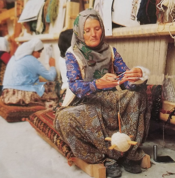 Turkish Woman Spinning Yarn