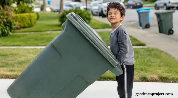 Boy and Garbage Can