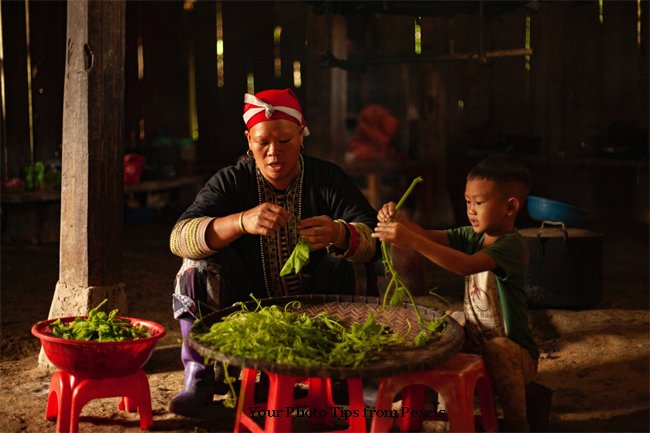 Child Helping to Clean Vegetables