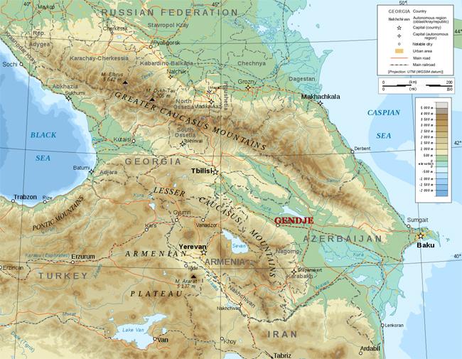 Map of Caucasus Region