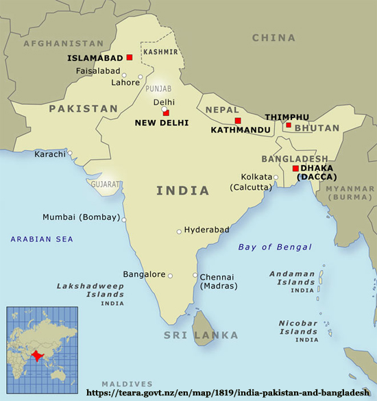 Map of India and Bangladesh