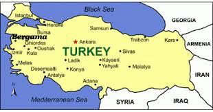 Map of Turkey with Bergama